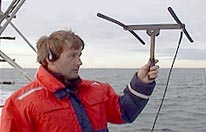 Using a VHF receiver to track a whale