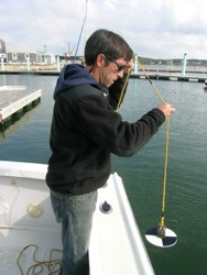 A Secchi disk is used to measure turbidity (water clarity).